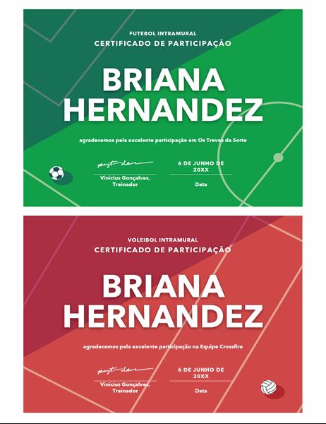 Certificado de premiação para quatro esportes