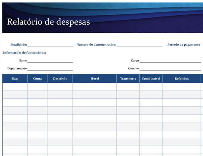 Relatório de despesas azul