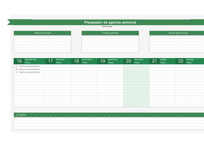 Planejador de agenda semanal