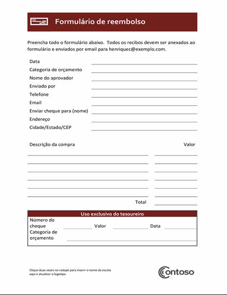 Formulário de reembolso