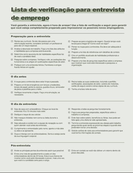 Lista de verificação para entrevista de emprego