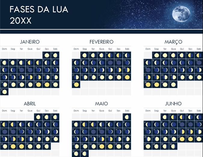 Fases do calendário da lua