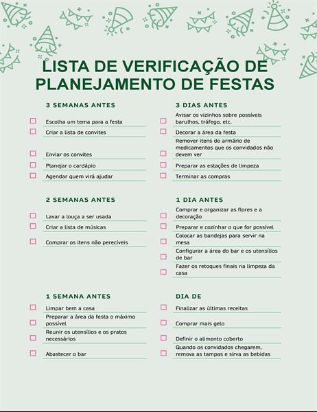 Lista de verificação para planejamento de festa
