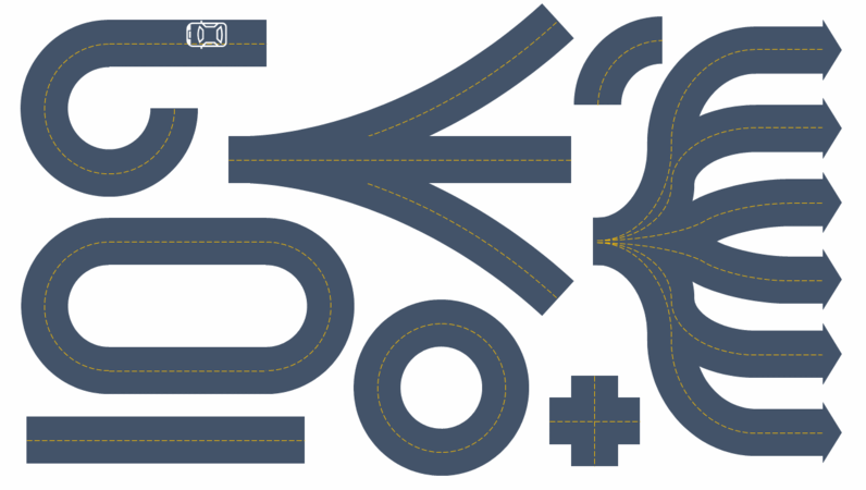 Elementos gráficos de construtor de estradas
