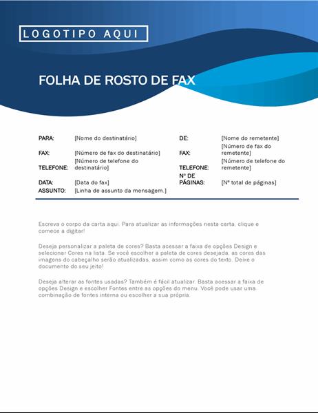 Capa de fax curva azul