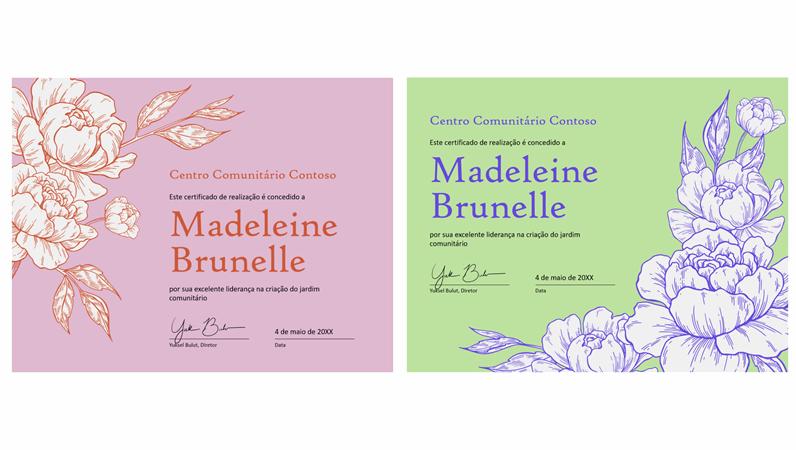 Certificado de realização de gravura floral