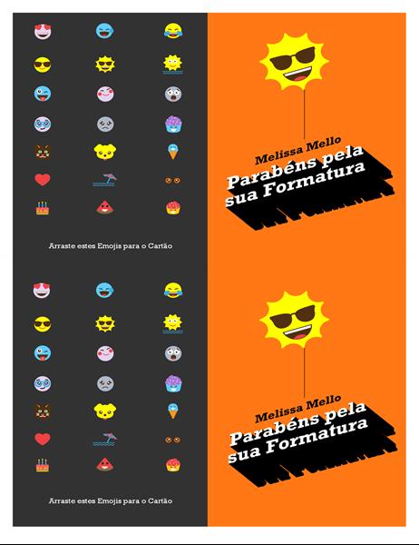 Cartão de formatura de emoji