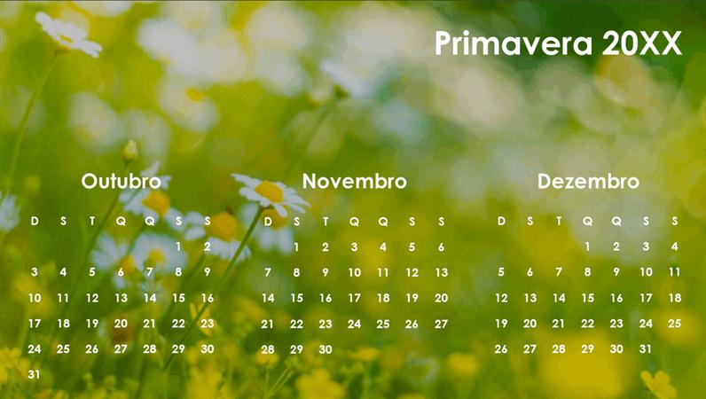Calendário trimestral das estações do ano