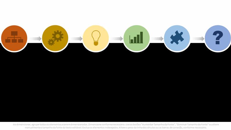 Elemento gráfico de fluxograma de processos com várias cores