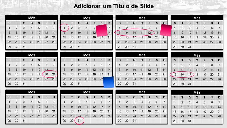 Calendário anual com Notas Autoadesivas