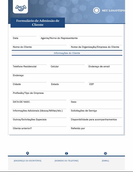 Formulário de admissão de clientes de pequenas empresas