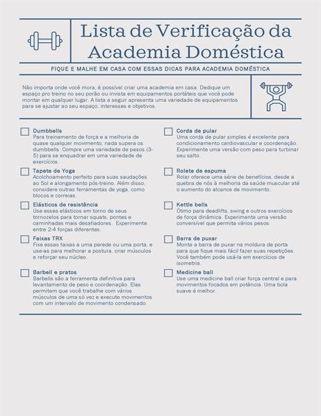 Lista de verificação da academia doméstica