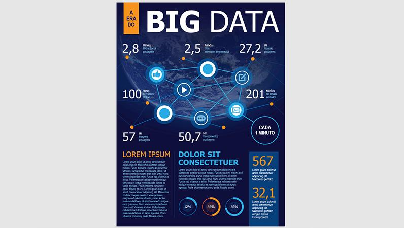 Pôster de infográficos sobre tecnologia