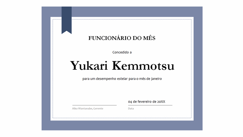Certificado para funcionário do mês