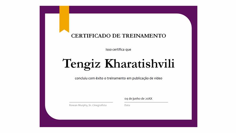 Certificado de treinamento
