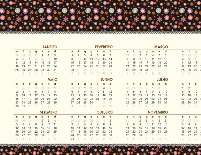 Calendário permanente (seg - dom, design floral)