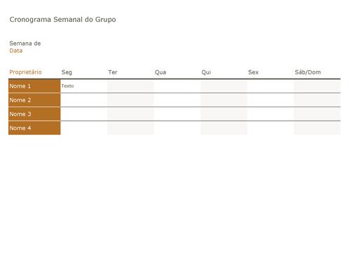 Cronograma semanal do grupo