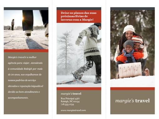 Folheto de viagens com três dobras (design vermelho e cinza)