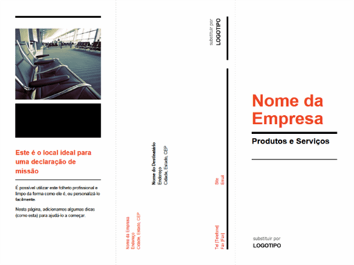 Folheto empresarial de três dobras (design preto, vermelho)
