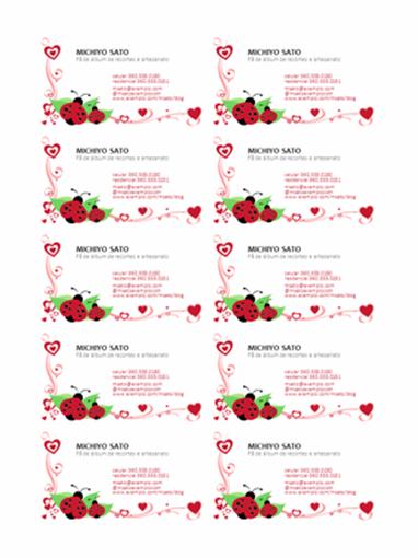 Cartões de visita (joaninhas e corações, alinhado à esquerda, 10 por folha)
