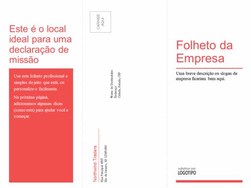 Brochura médica ou de negócios de três dobras (design vermelho e branco)