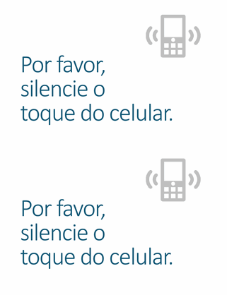 Cartaz de lembrete para desligar o celular