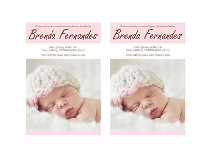 Anúncio do nascimento de menina