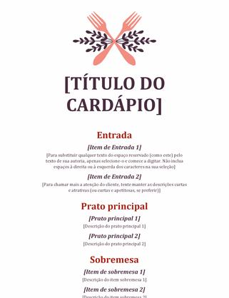 Cardápio para evento informal