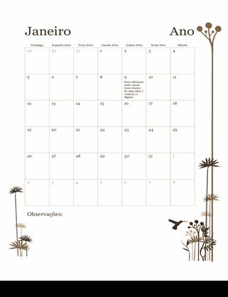 Calendário de 12 meses (Dom–Sáb)
