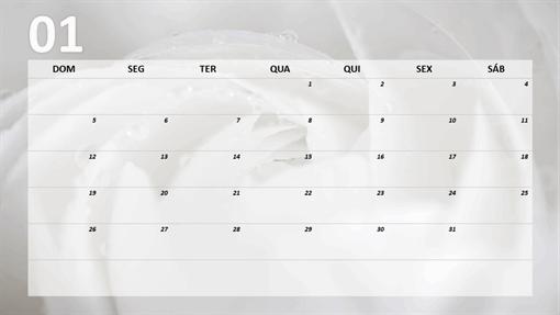 Calendário mensal floral