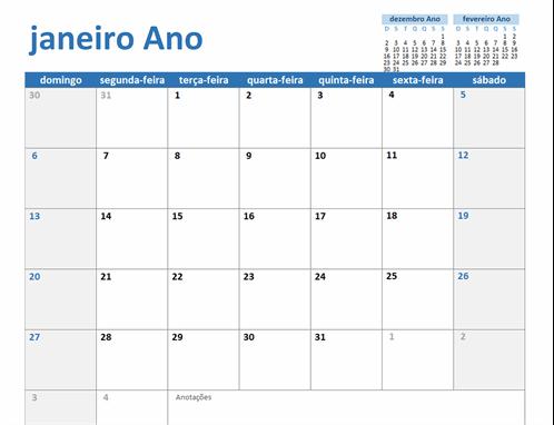 Calendário de qualquer ano personalizável