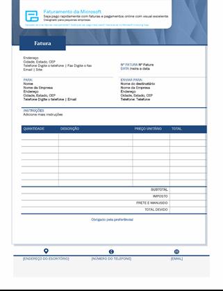 Fatura de vendas padrão com o Microsoft Invoicing