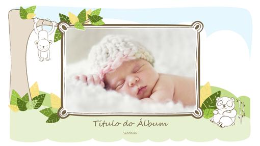 Álbum de fotografias do bebé (desenhos de animais, ecrã panorâmico)