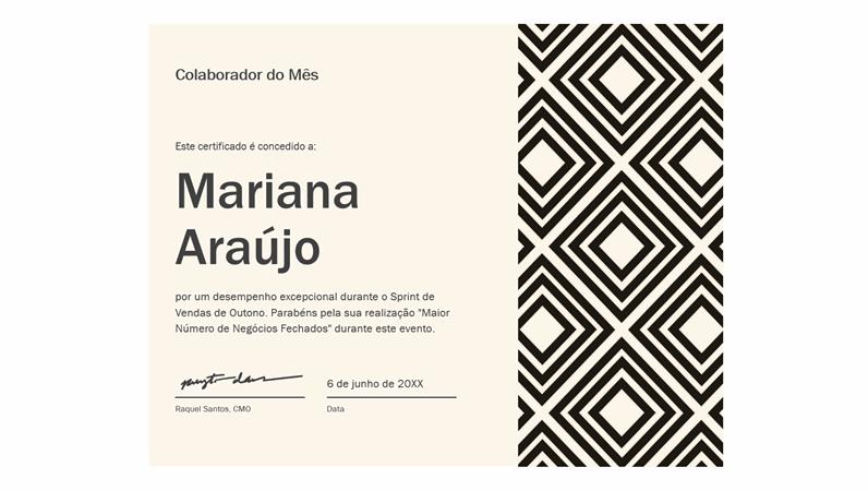 Certificado para o colaborador diamante do mês