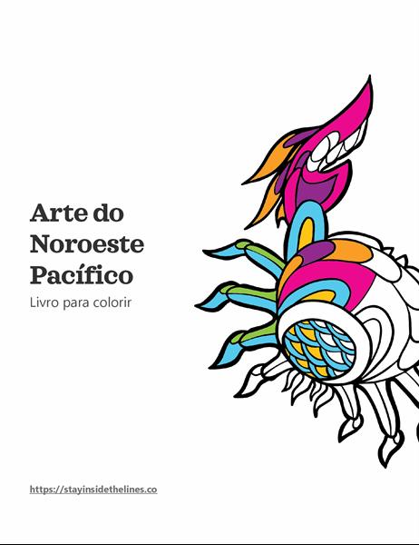 Livro para colorir Arte do Pacífico Noroeste