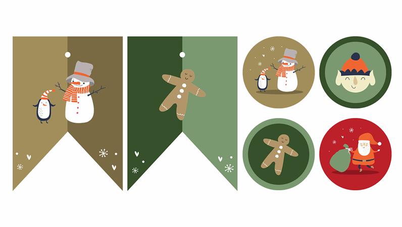 Materiais imprimíveis para a festa de Natal