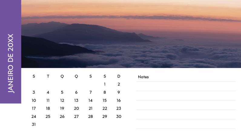 Calendário com fotografias de paisagens
