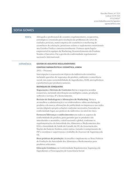 Currículo para gestor de assuntos regulamentares