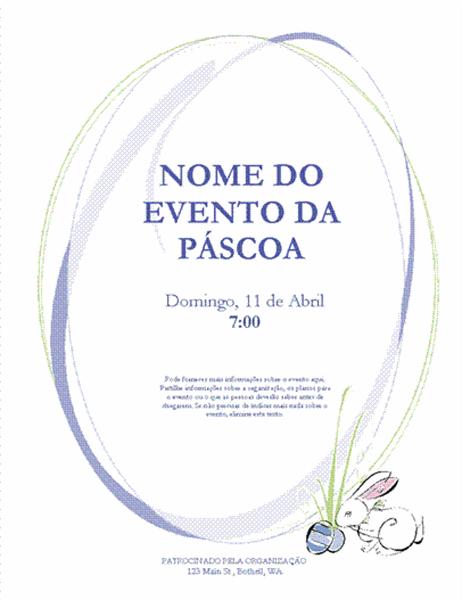 Panfleto para evento da Páscoa (com coelho)