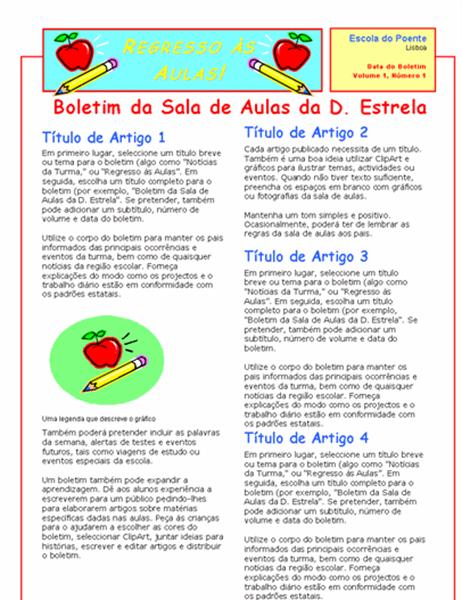 Boletim de Sala de Aulas (2 col., 2 pág.)