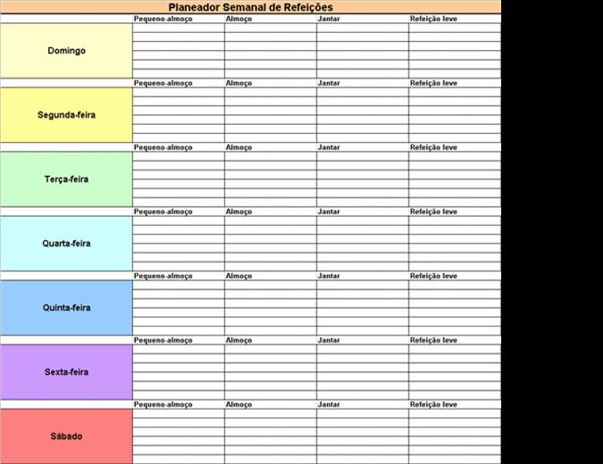 Planeador Semanal de Refeições