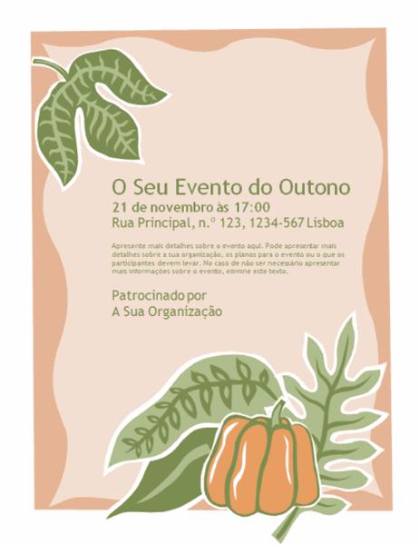 Panfleto para evento de outono (com abóbora)