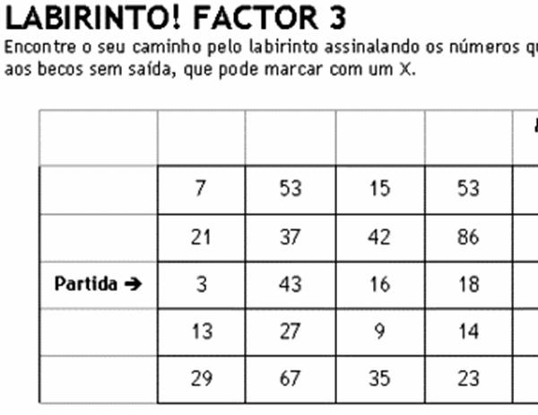 Labirinto de números nível 1, factor de 3