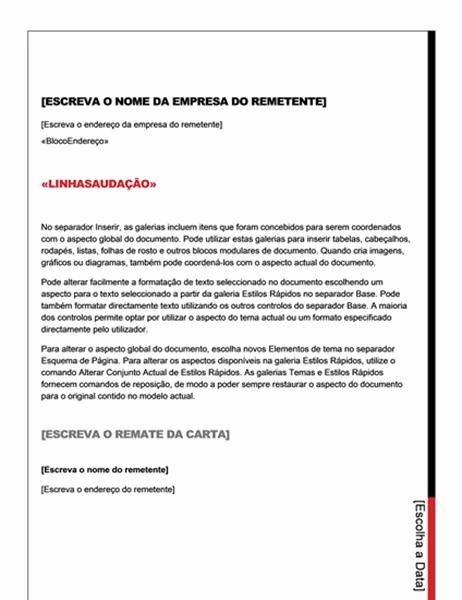 Carta de impressão em série (Design Essencial)