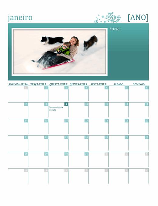 Calendário familiar sazonal (qualquer ano, de segunda-feira a domingo)