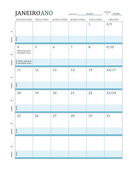 Calendário de plano de aulas