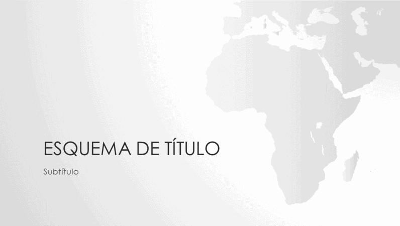 Série de mapas do mundo, apresentação com o continente africano (ecrã panorâmico)