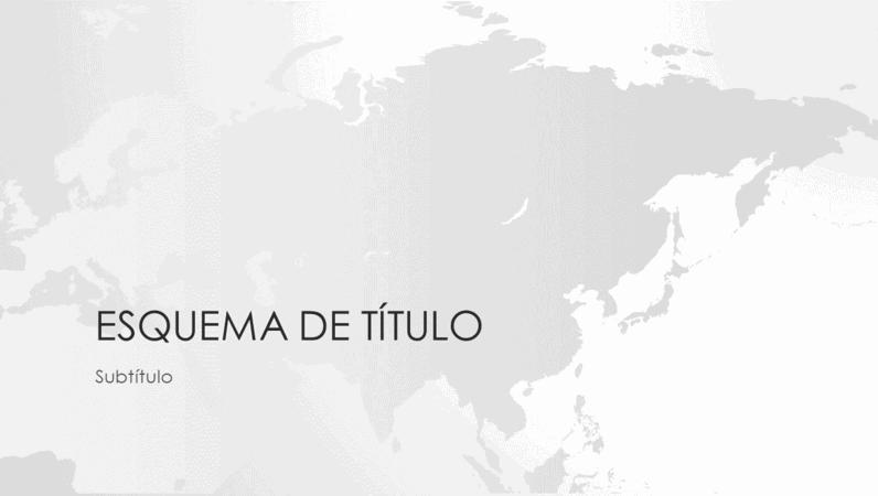 Série de mapas do mundo, apresentação com o continente asiático (ecrã panorâmico)