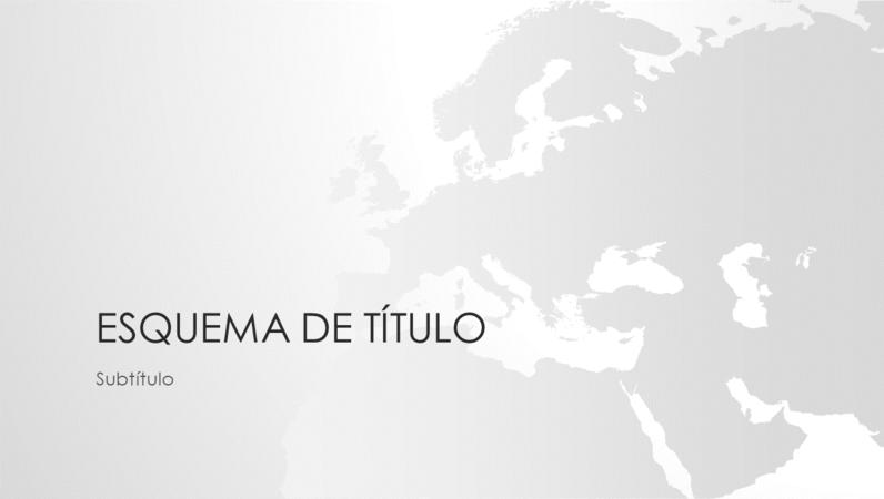 Série de mapas do mundo, apresentação com o continente europeu (ecrã panorâmico)