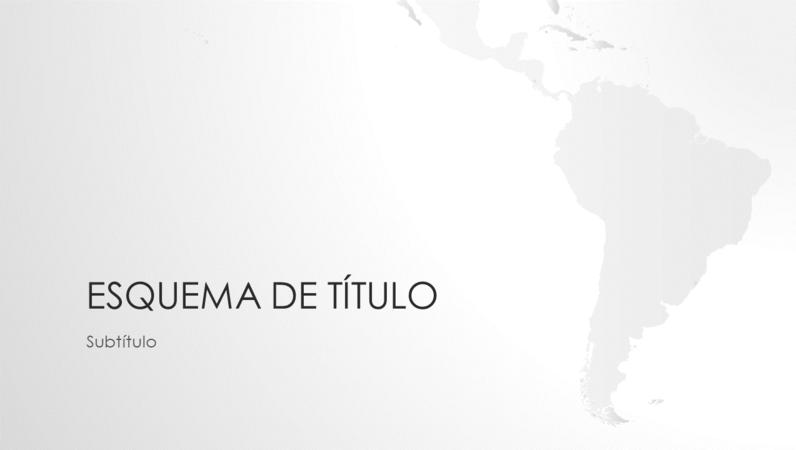Série de mapas do mundo, apresentação com o continente sul-americano (ecrã panorâmico)